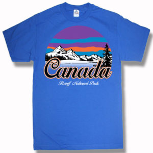 ADULT T-SHIRT WITH CANADA MOUNTAINS & TOWN NAME