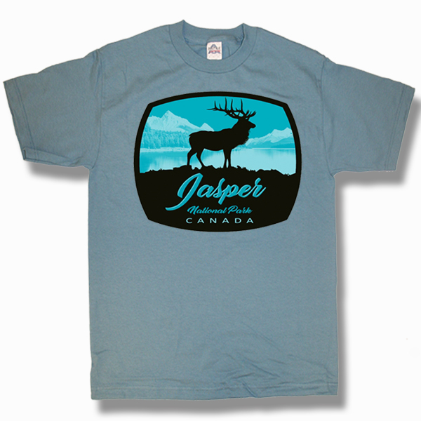 ADULT T-SHIRT WITH MOUNTAINS ELK & TOWN NAME