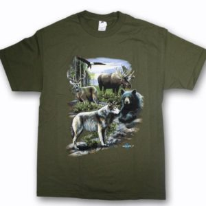 ADULT T-SHIRT WITH WILDLIFE COLLAGE & TOWN NAME