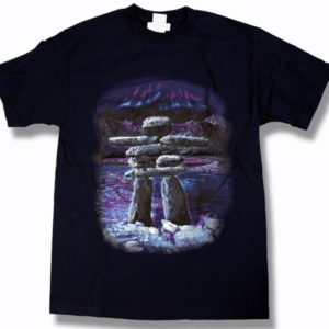 ADULT T-SHIRT WITH INUKSHUK SCENE & TOWN NAME