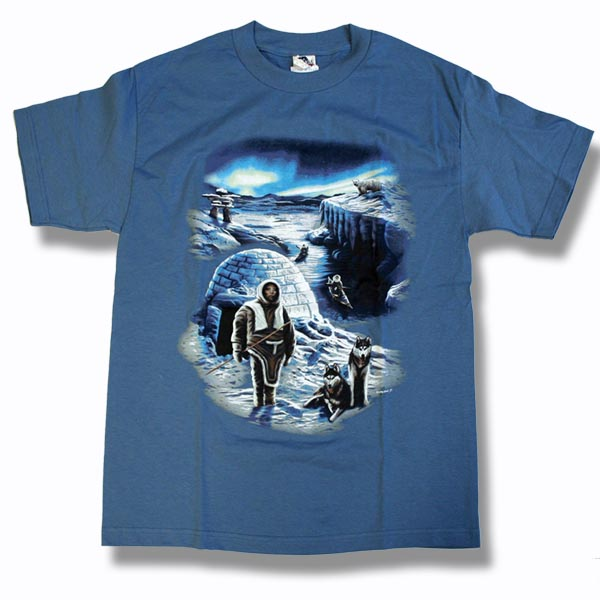 ADULT T-SHIRT WITH INUIT SCENE & TOWN NAME