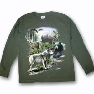 YOUTH LONG SLEEVE T-SHIRT WITH WILDLIFE COLLAGE & TOWN NAME