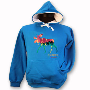 LADIES HOODIE WITH RETRO MOOSE & TOWN NAME