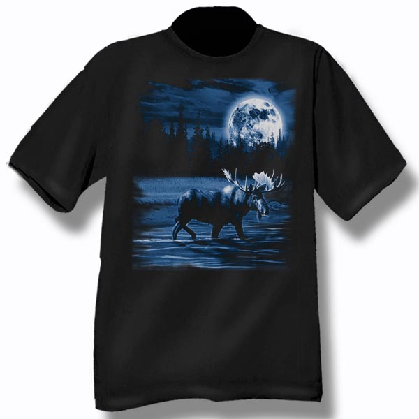 ADULT T-SHIRT WITH MOOSE NIGHT SCENE &TOWN NAME