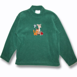 KID POLAR FLEECE PULLOVER W/DEER,WOLF,BIRD & RABBIT BACK DESIGNS