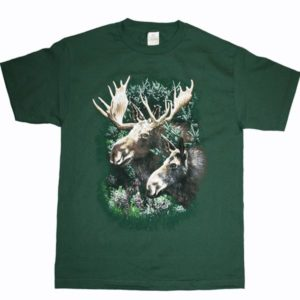 ADULT T-SHIRT WITH MOOSE COUPLE & TOWN NAME