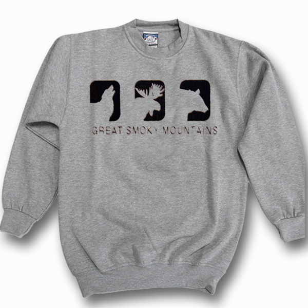 ADULT CREWNECK SWEAT WITH WOLF,MOOSE AND BEAR CUTOUT &TOWN NAME