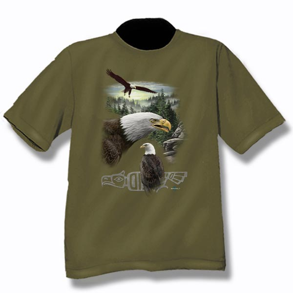 ADULT T-SHIRT WITH 3 EAGLES DESIGN & TOWN NAME