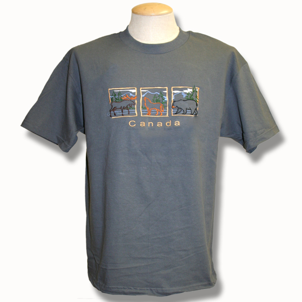 ADULT T-SHIRT WITH MOOSE WOLF AND BEAR IN SQUARES & TOWN NAME