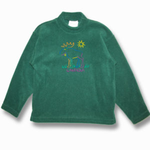 KID POLAR FLEECE PULLOVER W/MOOSE OUTLINE EMBROIDERY & TOWN NAME