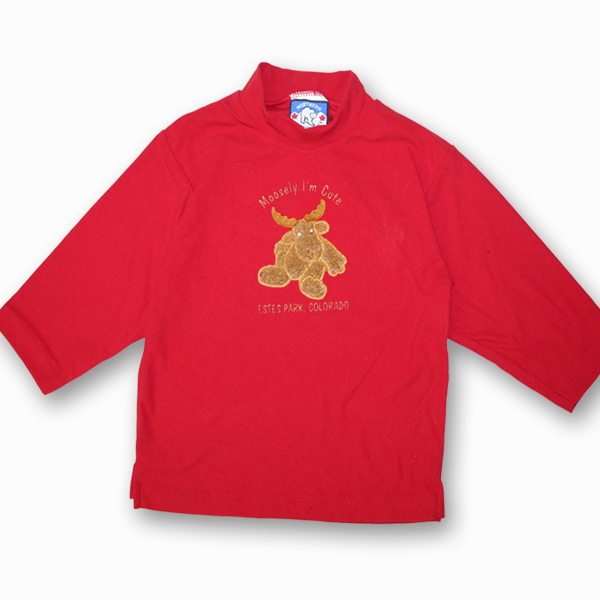 KID POLAR FLEECE PULLOVER W/FUZZY MOOSE APP.&TOWN NAME