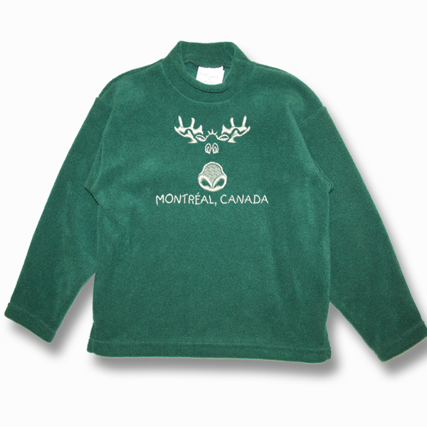 KID POLAR FLEECE PULLOVER W/CARTOON MOOSE EMBROIDERY & TOWN NAME
