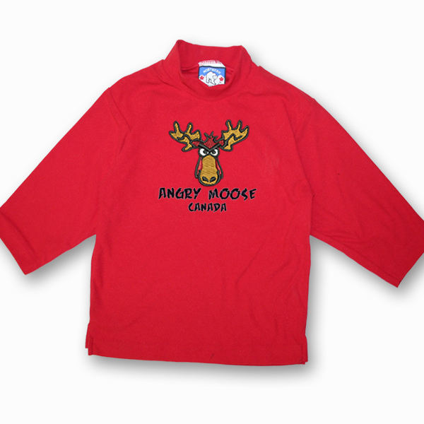 KID POLAR FLEECE PULLOVER WITH ANGRY MOOSE EMBROIDERY&TOWN NAME